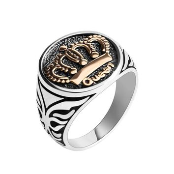 Cool New Arrival Antique Silver Goden Queen King Crown Signet Finger Ring For Men Women Punk Gothic Biker Rock Party Band JewelryAT_93_12
