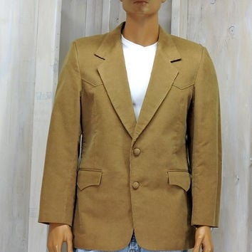Mens vintage 70s western blazer / L  size 42 /  Pioneer Wear sports coat / corduroy / cowboy /  made in the USA