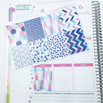 B08 // Pink Geometric Squares (8 Glossy Planner Stickers)