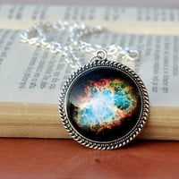 The Crab Nebula Necklace, Crab Nebula Pendant, Silver Plated Space Jewelry