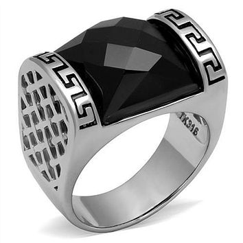 WildKlass Stainless Steel Ring High Polished (no Plating) Men Synthetic Jet