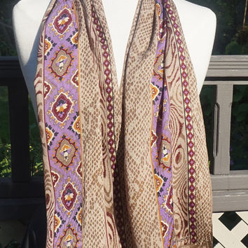 "Vintage ECHO Scarf,Vintage Silk Scarf,Animal Print Scarf, 52"" x 11"" Oblong Scarf, Taupe Brown Purple,Long Silk Scarf,Boho Scarf,Signed Scarf"