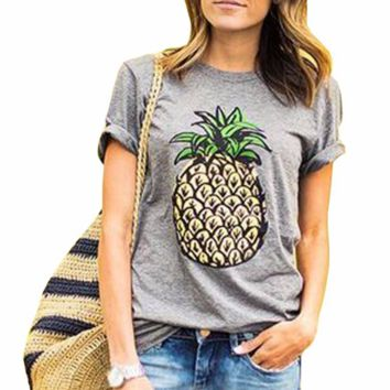 Fashion Pineapple Printed T-Shirts