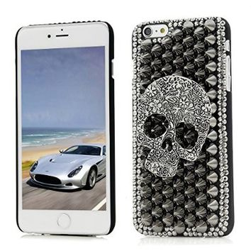 iPhone 6 Plus Case (5.5 Inch) - Mavis's Diary 3D Handmade Cool Flower Skull with Special Pyramid Studs and Spikes Rivets Punk Style Design Black Cover Hard PC Case with Soft Clean Cloth (Cool Skull)