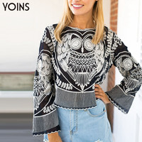 YOINS 2016 Spring New Arrival Women Blouse Black Owl Embroidery Chiffon Shirt Fashion Bohemian Irregular Short Tops Brand Cloths
