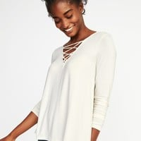 Lace-Up-Yoke Swing Top for Women | Old Navy