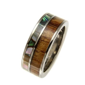 Mens Titanium Wedding Band Genuine Inlay Hawaiian Koa Wood Abalone Ring - 8mm