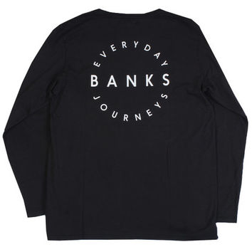 Shop Banks Record L/S Tee in Dirty Black   Jack's Surfboards