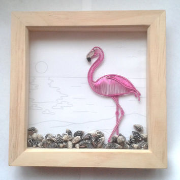 Shadowbox Frame, Art Shadow Box Frame Decoration, Handmade Wire Wrapped Flamingo Wall Art, Home Deco, Unique Home Gift Idea, Nature inspired