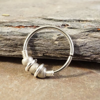 18 or 20 Gauge Silver Nose Hoop Ring or Cartilage Hoop Earring