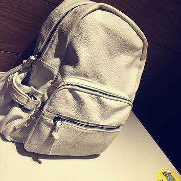 Soft Leather Vintage Backpack Daypack School Bag