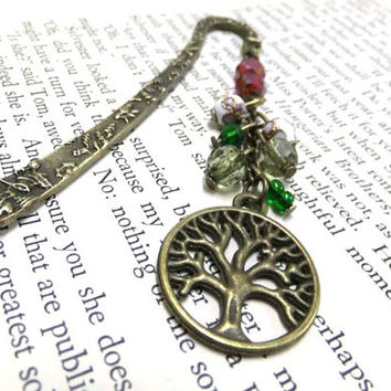 Bronze Tree of Life Bookmark, Tree Bookmark, Beaded Bookmark, Nature Bookmark, Red and Green Bookmark, Student Gift, Teachers Gift, Boho