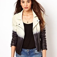 Selected Dip Dye Leather Jacket at asos.com