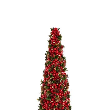 "Red & Green Holly 18"" Conical Tree - Salzburg Creations"