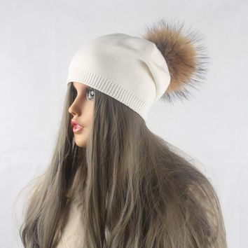 Winter Autumn Pom Pom Beanies Hat Women Knitted Wool Skullies Casual Cap Real Raccoon Fur Pompom Hats