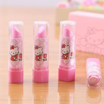 Hello Kitty goma de borrar kawaii Lipstick Design Eraser gomas de borrar Stationery Gomme kawaii Erasers for kids rubber 00628