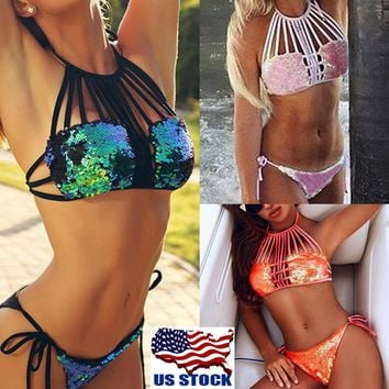 Ladies Sexy Sequin Bikini Bandage Swimwear Push-up Bra Swimsuit Bathing 2PCS Set