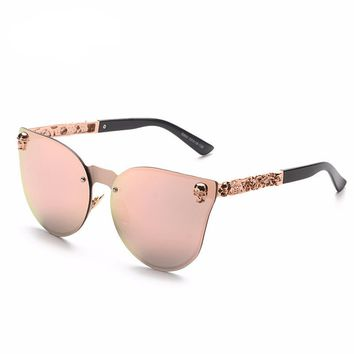 Grunge Cat Eye Metal Frame carving Flower Sunglasses