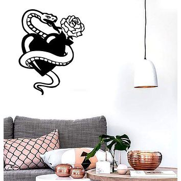 Wall Stickers Vinyl Decal Snake Rose Tattoo Love Heart Unique Gift ig1671