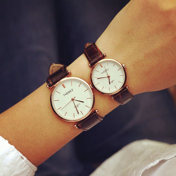 Trendy Good Price Gift Great Deal Awesome New Arrival Stylish Designer's Simple Design Vintage Leather Fashion Couple Waterproof Watch [6045924801]