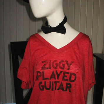 Ziggy Stardust lyrics women's v-neck shirt, hand-printed block David Bowie