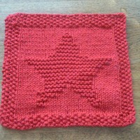 Hand Knit Super Star Red Cotton Picture Dishcloth or Washcloth