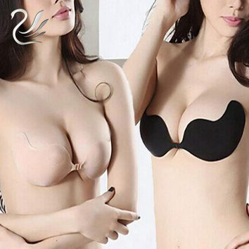 Women Sexy Push Up Front Closure Self-Adhesive Silicone Half Cup Backless Seamless Strapless Invisible Bra for Wedding Party