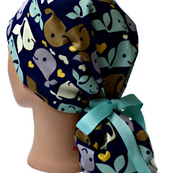 Women's Ponytail Surgical Scrub Hat Cap in Whales with Hearts