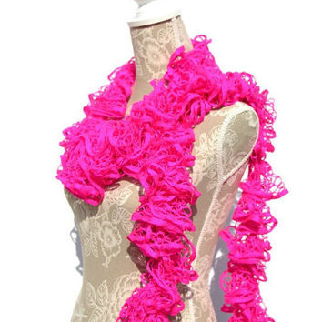 Hot Pink Frilly Ruffle Scarf, Starbella Neons, Crochet Scarf, Woman's Scarf, Handmade Scarf, Fashion Scarf. Gifts for Her, Boa