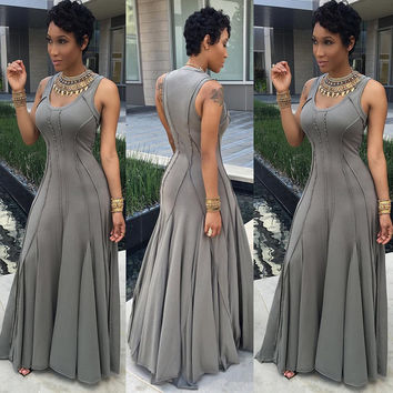 Grey Sleeveless Ruffled Maxi Dress