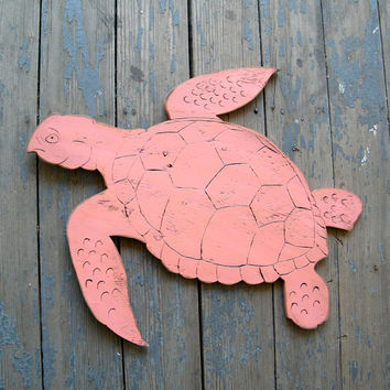 Sea Turtle Sign Large Swimming Wooden Sign Beach Coastal Ocean Coral