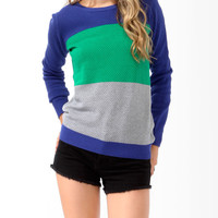 Colorblocked Waffle Knit Sweater