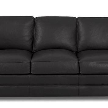 Savvy Waltham Leather Sleeper Sofa In Keystone Graphite (Queen)
