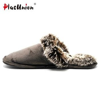Warm indoor brand solid faux fur slippers for men Winter soft flock grey house slipper home mens shoes adult autumn pantoufle