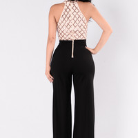 You're Gonna Miss Me Jumpsuit - Rose Gold/Black
