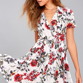 Just Fleur You White Floral Print Shirt Dress