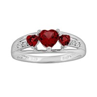 Sterling Silver Garnet & Diamond Accent Heart 3-Stone Ring (Red)