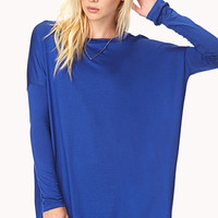 FOREVER 21 Easy Drop-Shoulder Top Royal Small