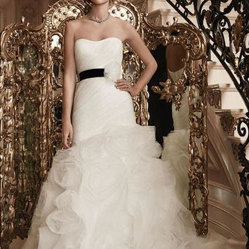 Casablanca Bridal 2126 Tule Strapless Ruched Fit & Flare Wedding Dress