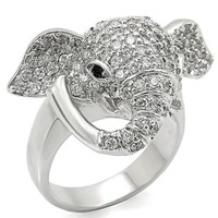 Rhodium plated Crystal Elephant Ring