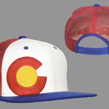 Colorado Flag LogoWhite Blue & Red Trucker snapback hat by Aksels