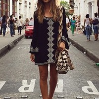 West Coast Wardrobe Aztec Garden Long Sleeve Embroidered Dress in Black