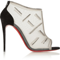 Christian Louboutin - Signifiamma 100 chain-embellished mesh and suede ankle boots