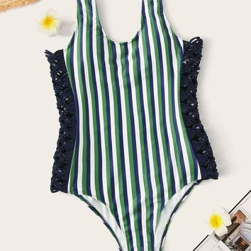 Striped Low Back One Piece Swimsuit