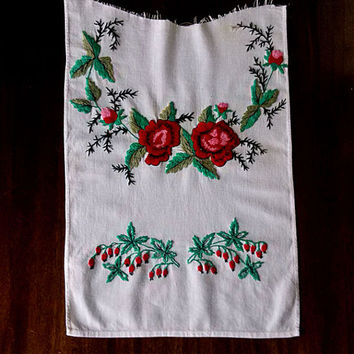 Vintage towel part Embroidery satin stitch rose Old floral pattern Beautiful flowers Rustic folk decor Housewares Retro sewing machine