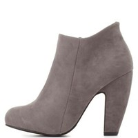 Bamboo Curved Chunky Heel Booties by Charlotte Russe - Gray