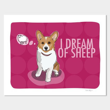 Pop Doggie I Dream of Sheep Dog Art Pembroke Welsh Corgi Art, 8 by 10""