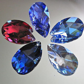 Swarovski Crystal Set of 5 Teardrop Prism Ornament Pendants in 5 Colors, 38mm
