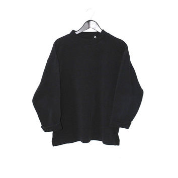 black turtle neck sweatshirt early 90s vintage GRUNGE turtleneck unisex relaxed fit MINIMALIST pull over jumper os