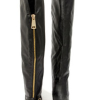 Bamboo Montage 80X Black Over the Knee Flat Boots